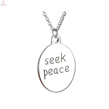 2017 new arrival seek peace plate chain necklace for pendant